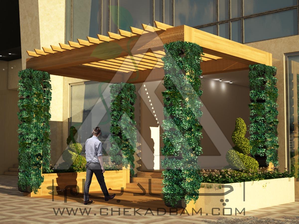 طراحی سه بعدی تراس سبز